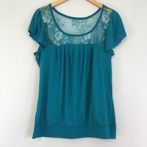 Torrid Floral Lace Collar Teal Blue Blouse Top 1X